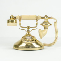 Vintage Gold French Celebrity Rotary Phone