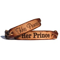 Her Prince and His Princess Leather Bracelets (Pair)