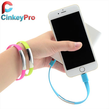 CinkeyPro Bracelet micro USB Cables For Apple iPhone SE 5 5S 6 6S Plus iPad Air smart Phone Travel Charger 8pin Data Charging