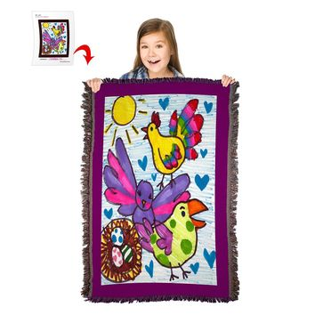 "Turn Your Child's Drawing into a 54"" x 38"" HD Woven Throw Blanket"
