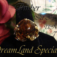 Amber Ring Vintage Jewelry Mid Century High Set by DLSpecialties