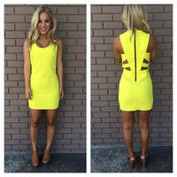 Party To The Break Of Dawn Dress - NEON YELLOW