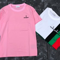 YSL Yves Saint Laurent 2018 Summer New Fashion Small Embroidered Short Sleeve T-Shirt F-AA-XDD pink