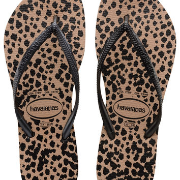 Havaiana Slim Animals in Rose Gold/Black- Size 6 (last one)