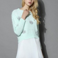Floral Breeze Fluffy Sweater in Mint