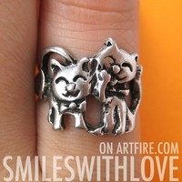 SALE - Kitty Cat Animal Ring in Silver - Sizes 5, 5.5 and 6 Available