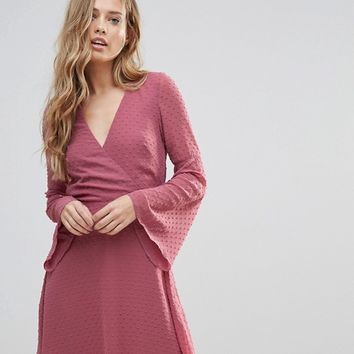 Oh My Love Textured Flare Sleeve Baby Doll Dress at asos.com