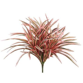 """Weather Resistant Plastic Dracaena Grass Plant in Variegated Pink Green - 13.25"""" Tall"""