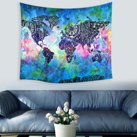 Wall Tapestries 150X130cm World Map Polyester Tapestry