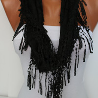 Black Shawl/ Scarf  Headband - Cowl with Trim Edge- Summer Trends