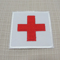 Iron on red cross patch