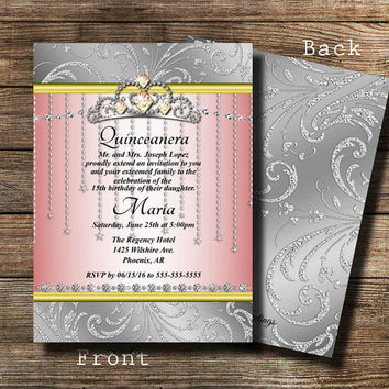 Princess Crown Invitation, Quinceanera Invitation,Bling Invite , Diamond Birthday, Bridal Shower Invitations, Rhinestone Invite, Pink silver