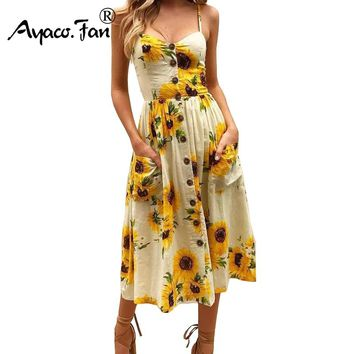 Sexy V Neck Backless Floral Print Summer Beach Dress Women Boho Sunflower Daisy Pineapple Party Midi Dresses Plus Size 3XL
