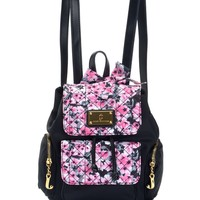 Black/Pink Floral Malibu Nylon Mini Backpack by Juicy Couture, O/S