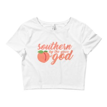 """Women's Crop Tee """"Southern by the grace of God"""""""