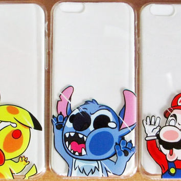 iPhone 6 Case - Cute Cartoon Stuck in Your Phone - Pikachu - Stitch - Batman - Minion -Superheroes