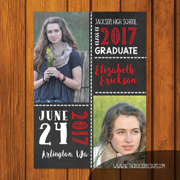 Graduation Announcement / Chalkboard Graduation Announcement / Graduation / Photo Announcement / High school / College / Party Invitation