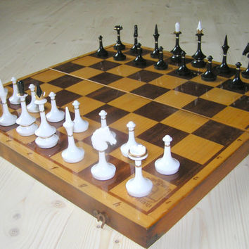 Soviet Vintage Chess Board Extra Large Full Set Beautiful Chess