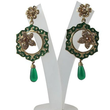 Dangle Earrings Emerald Green Ruby Color Gold Finished Kundan Chandeliers