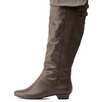 Covered Button-Belted Knee-High Boots by Charlotte Russe