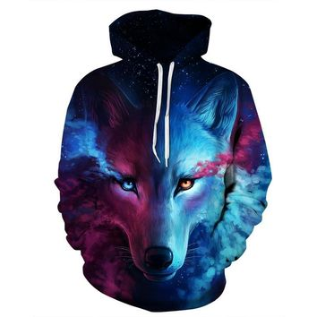 6XL New Design Galaxy Space Wolf 3D Print Hoodies Sweatshirt Men Women Hooded Sweats Tops Hip Hop Unisex Graphic Pullover