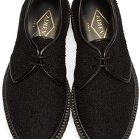 Black Curly Wool Derbys