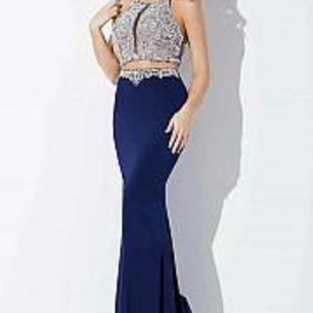 Blush two piece floor length gown with crystal embellished top.