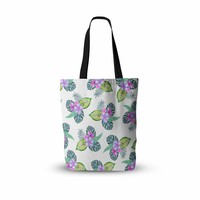 "Sylvia Cook ""Tropical Flowers"" Green Pink Floral Nature Watercolor Digital Everything Tote Bag"