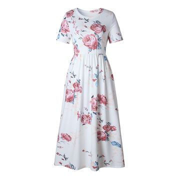 Beach White Flowers Round Neck Short Sleeve Dress