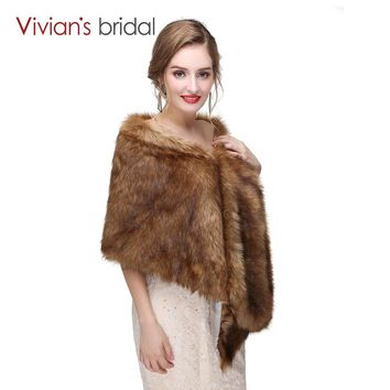 Winter Faux Fur Coat Women Wedding Bridal Cape