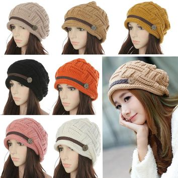 Women Knitted Baggy Beanie Hat
