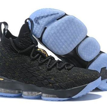DCCKL8A Jacklish New Nike Lebron 15 Black And Gold Basketball Shoes For Sale