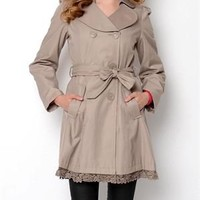 Betsey Johnson Lace Accented Hemline Trench Coat - Betsey Johnson Spring Outerwear - Modnique.com