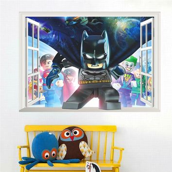 Batman Dark Knight gift Christmas cartoon hero batman wall decals for kids rooms bedroom decor 3d effect window wall stickers pvc posters diy mural art boy's gift AT_71_6