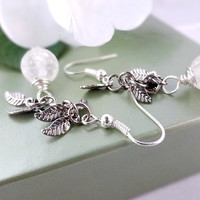 Bridal Earrings, Silver and White Frosted Brides Earrings, Bridal Jewelry