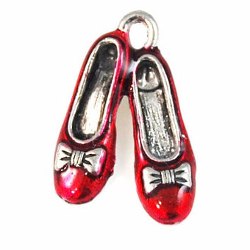 Wizard of Oz, Hand Painted Magical Slippers Silver Pewter Charm -1