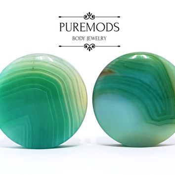 "Green Line Agate Stone Plugs 0G (8mm) - 1"" (25mm)"