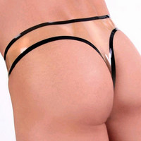 Man Sexy Latex T-Thongs Exotic Tansparent Male Latex Shorts