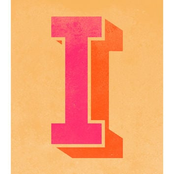 The Letter I, Original Art Print, Typography, Alphabet, Pink, Orange, Gold
