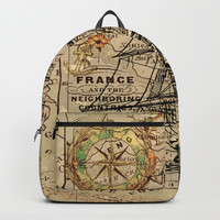 VINTAGE EUROPEAN MAP & SHIP Backpack by digitaleffects