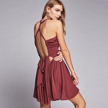 Free People Fashion Solid Color Deep V Hollow Ruffle Sleeveless Backless Mini Dress