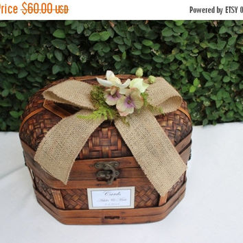 ON SALE Wedding Card Box / Rustic Wedding Trunk Cardholder / Rustic Trunk Chest
