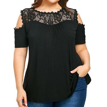 Women Plus Size Blouse Off Shoulder Top Tunic Lace Splice Patchwork Female Fashion Cold Shoulder large size XL-5XL Tops blusa