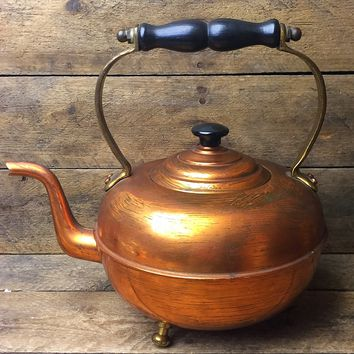Vintage Copper Tone Tea Kettle with Wooden Black Handle Made in England