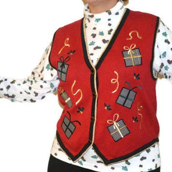 90's Vintage Ugly Tacky Christmas Sweater Vest / Red and Gold with Gifts/ Large/ Christmas Sweater Party