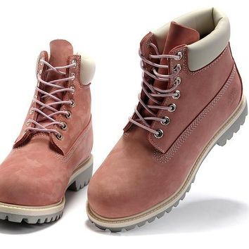 LMFON Timberland Rhubarb Boots 2018 White Pink For Women Men Shoes Waterproof Martin Boots