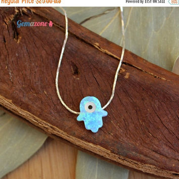 VALENTINE SALE Evil Eye necklace / Hamsa opal necklace / protection necklace / Nazar necklace / sterling silver choker / Evil Eye charm jewe