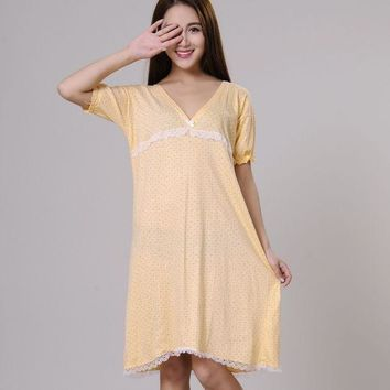 ESBON5U 100% cotton nightgowns for women summer sleepshirts 2017 new autumn v-neck female sleepwear teenage girl lounge green yellow