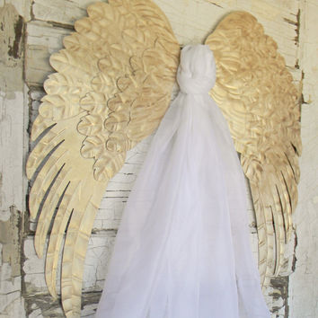 Angel Wings,Angel Wing Wall Decor,Pair Of Angel Wings,Metal Angel Wings,Large Angel Wings,Nursery Decor,Shabby Cottage,Golden Angel Wings