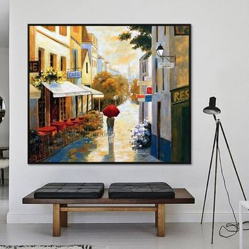 Cityscape painting skyline Oil Painting wall art hand painted street scenery city painting on Canvas large art home decor cuadros abstractos